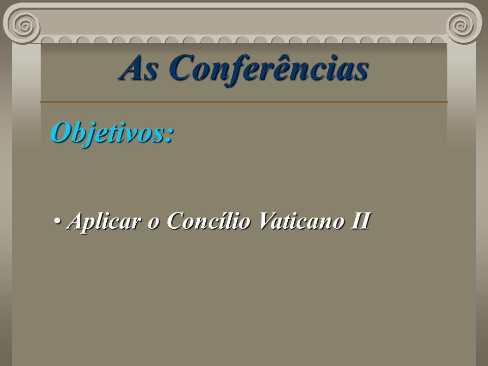 As Conferências Objetivos: Aplicar o Concílio Vaticano II