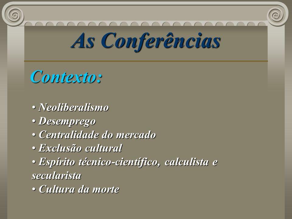 As Conferências Contexto: Neoliberalismo Desemprego