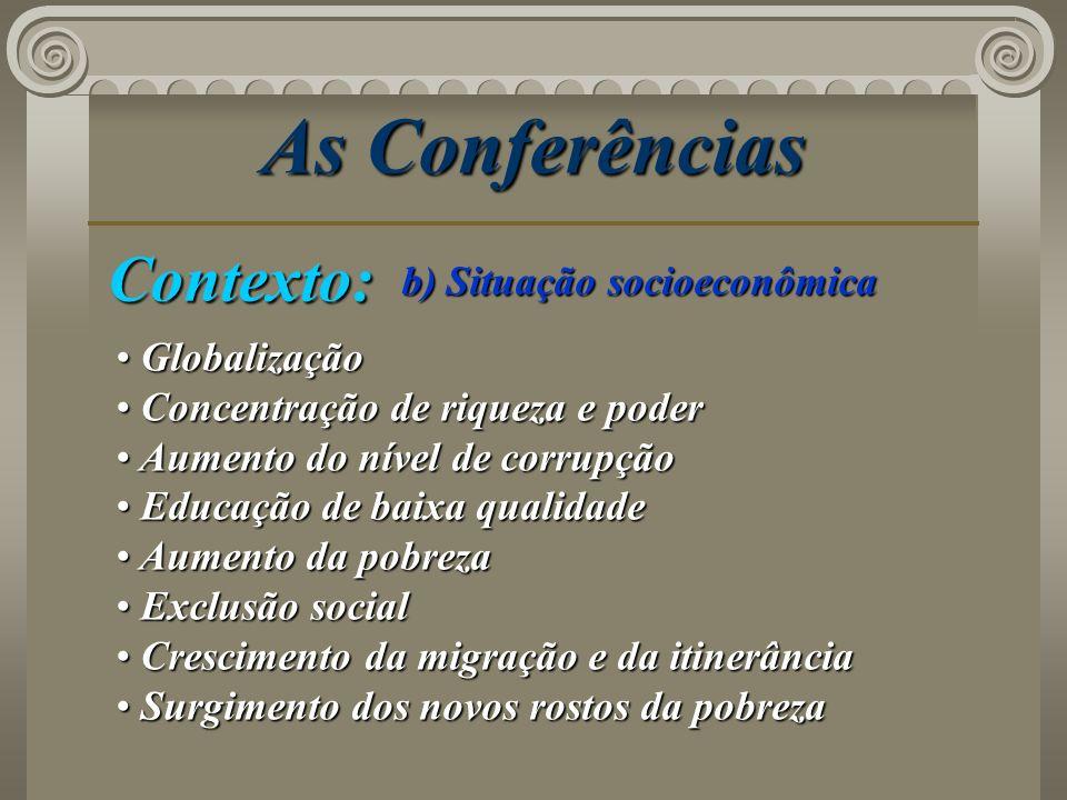 As Conferências Contexto: b) Situação socioeconômica Globalização