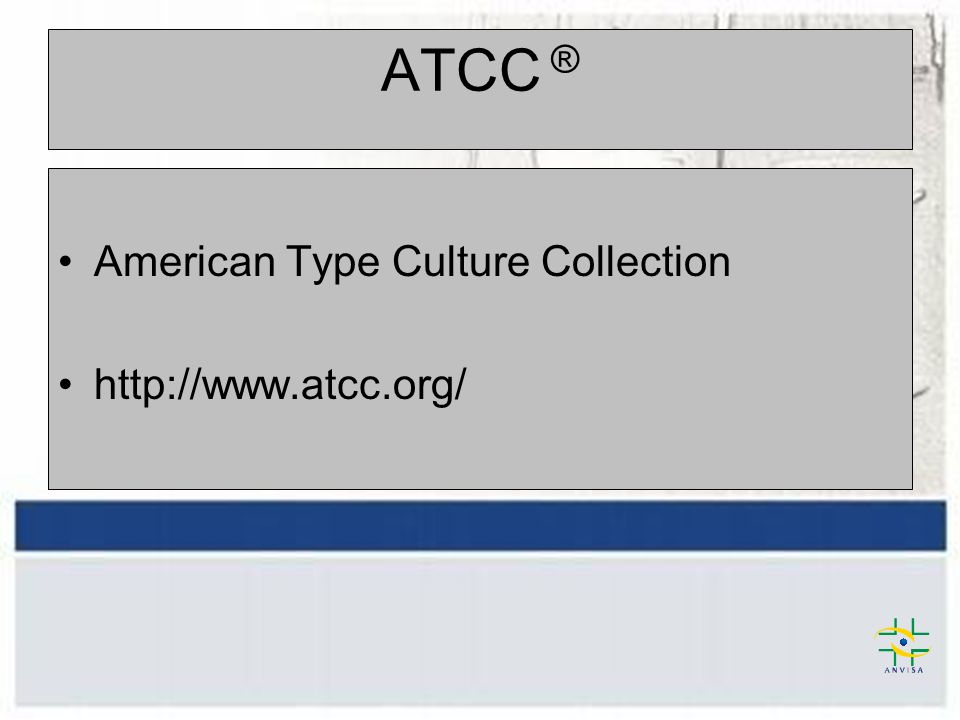 ATCC ® American Type Culture Collection http://www.atcc.org/