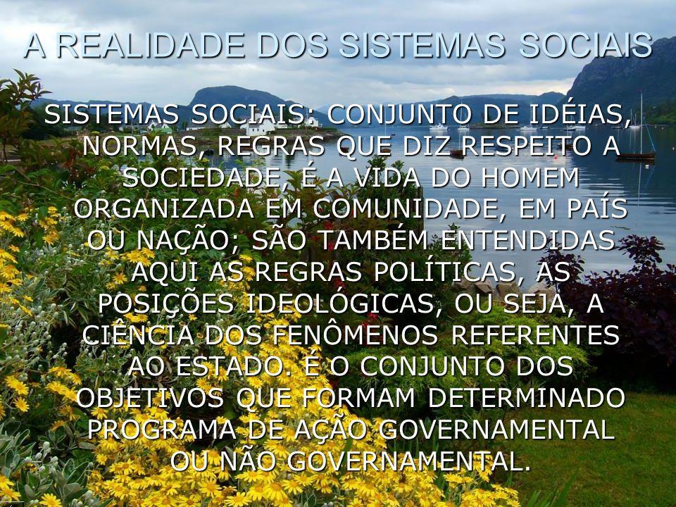 A REALIDADE DOS SISTEMAS SOCIAIS