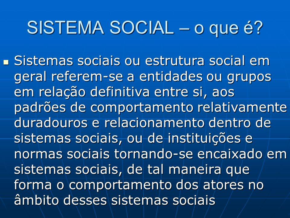 SISTEMA SOCIAL – o que é