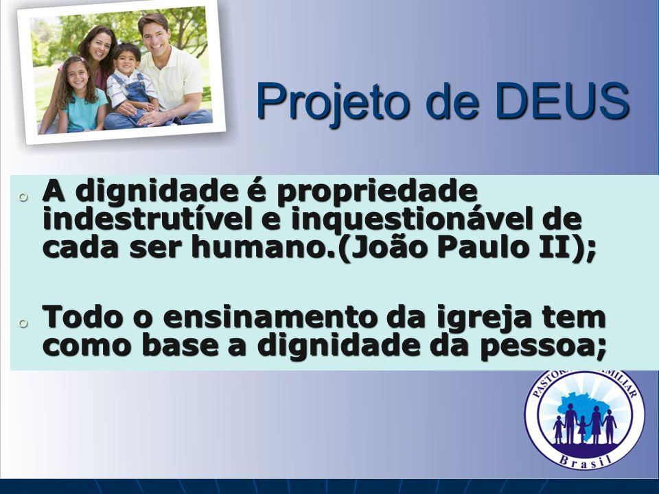 Projeto de DEUS A dignidade é propriedade indestrutível e inquestionável de cada ser humano.(João Paulo II);