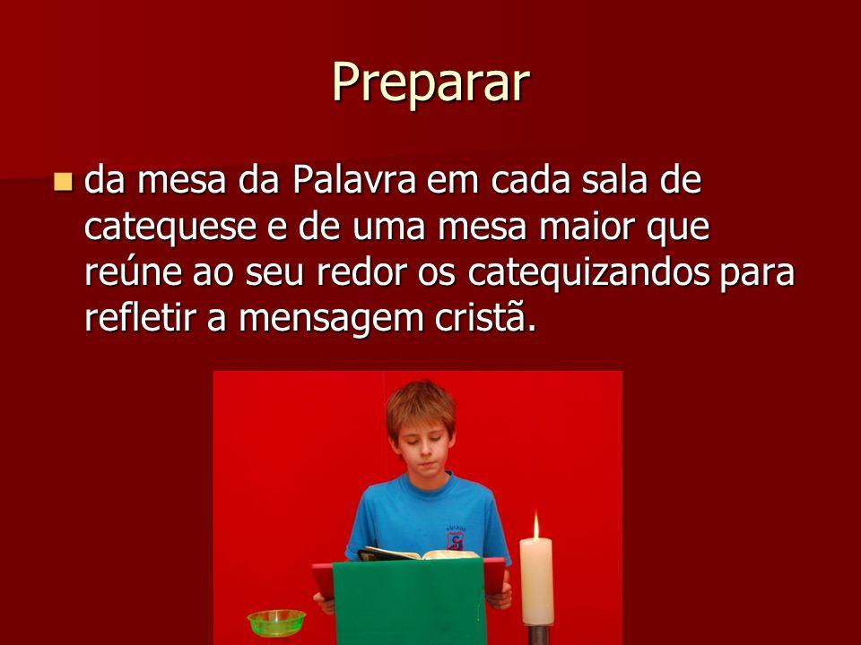 Preparar da mesa da Palavra em cada sala de catequese e de uma mesa maior que reúne ao seu redor os catequizandos para refletir a mensagem cristã.