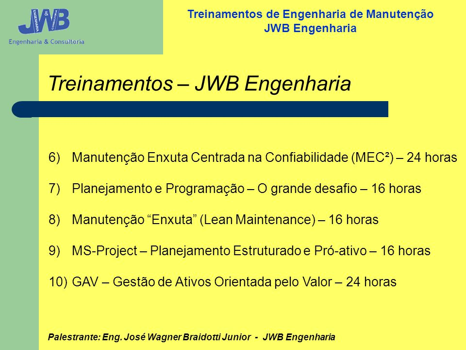 Treinamentos – JWB Engenharia