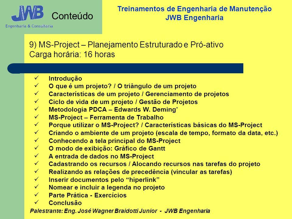 Conteúdo 9) MS-Project – Planejamento Estruturado e Pró-ativo