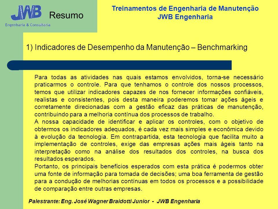 Resumo 1) Indicadores de Desempenho da Manutenção – Benchmarking