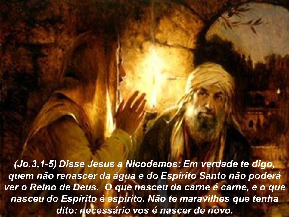 (Jo.3,1-5) Disse Jesus a Nicodemos: Em verdade te digo, quem não renascer da água e do Espírito Santo não poderá ver o Reino de Deus.