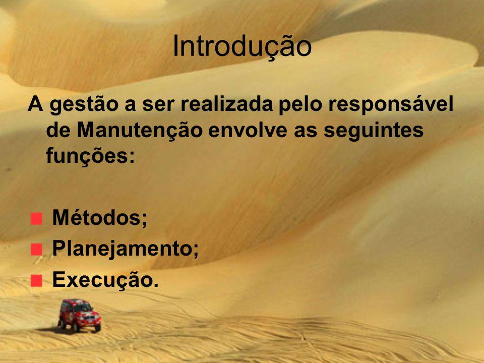 Introdução A gestão a ser realizada pelo responsável de Manutenção envolve as seguintes funções: Métodos;