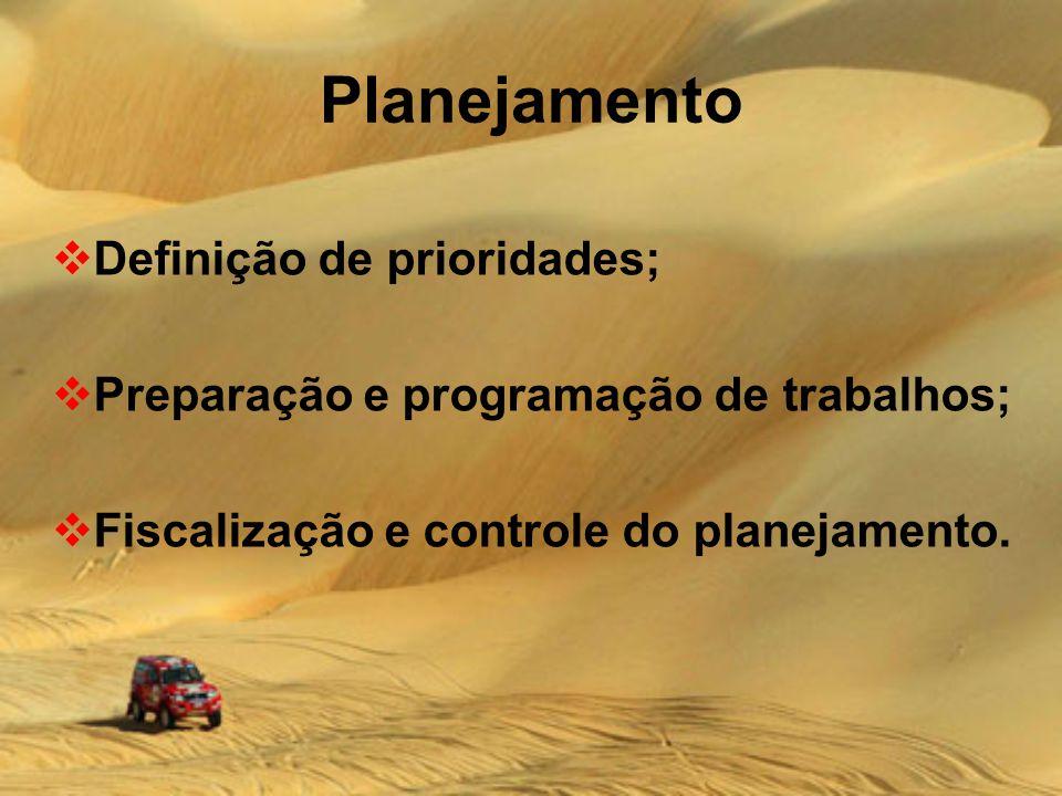Planejamento Definição de prioridades;