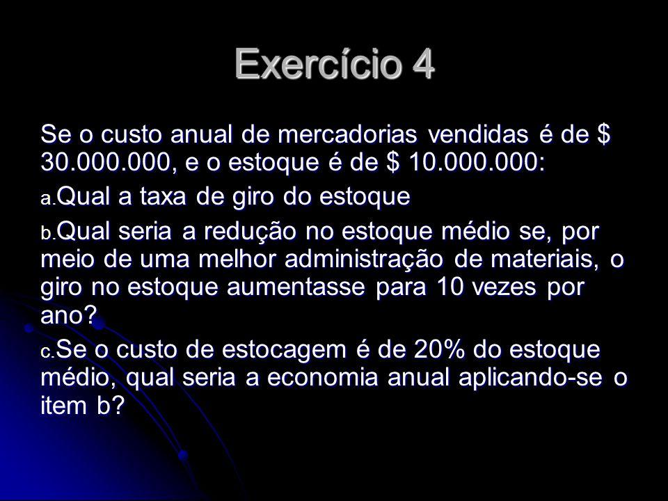 Exercício 4 Se o custo anual de mercadorias vendidas é de $ 30.000.000, e o estoque é de $ 10.000.000: