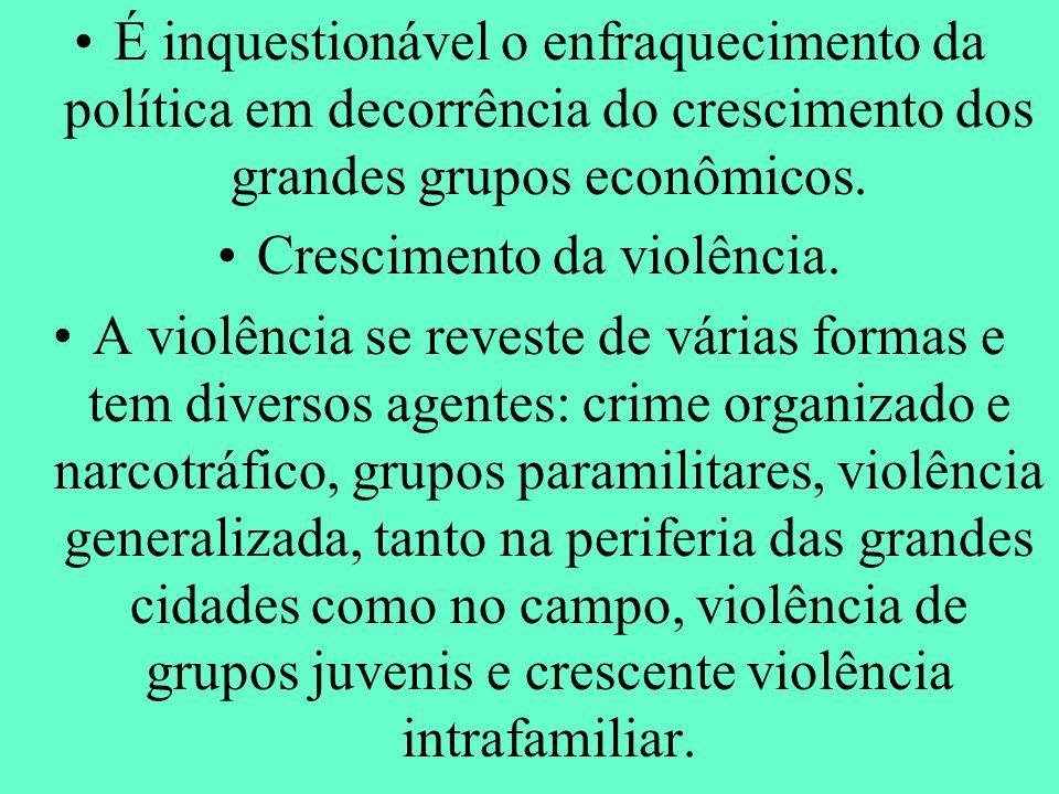 Crescimento da violência.