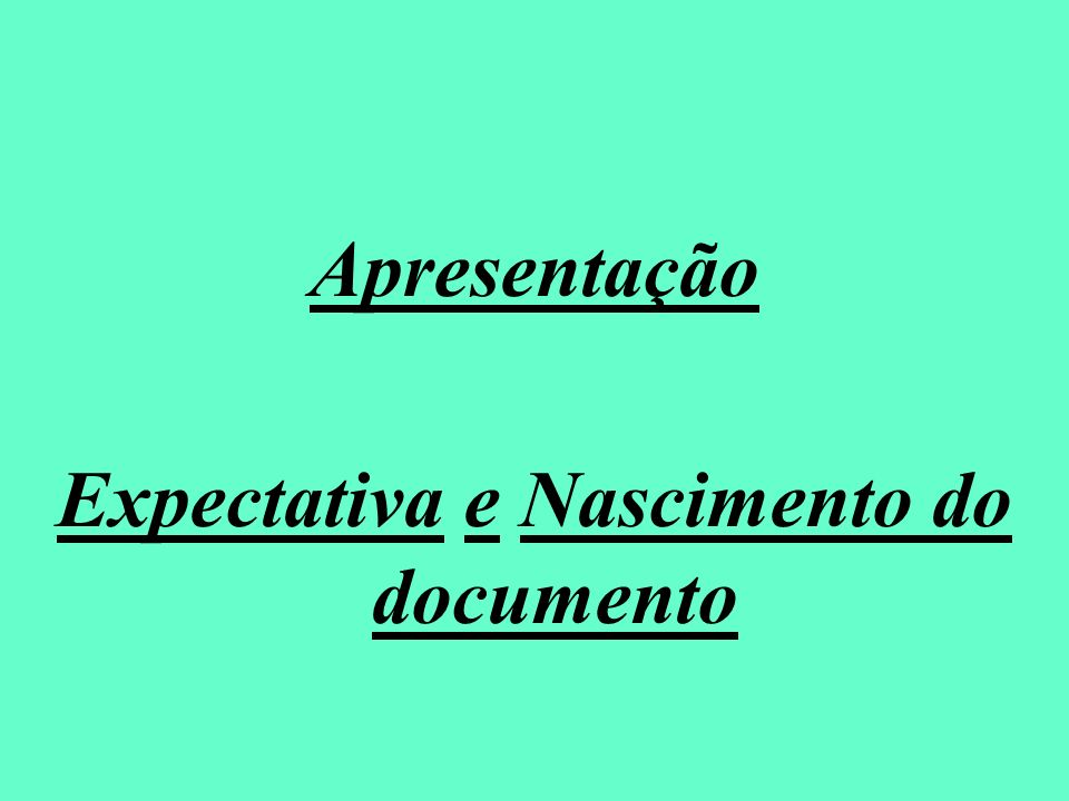 Expectativa e Nascimento do documento