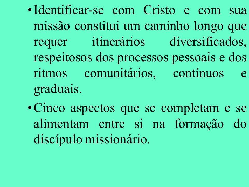 Identificar-se com Cristo e com sua missão constitui um caminho longo que requer itinerários diversificados, respeitosos dos processos pessoais e dos ritmos comunitários, contínuos e graduais.