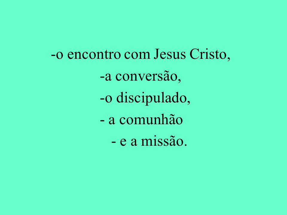 -a conversão, -o discipulado, - a comunhão - e a missão.
