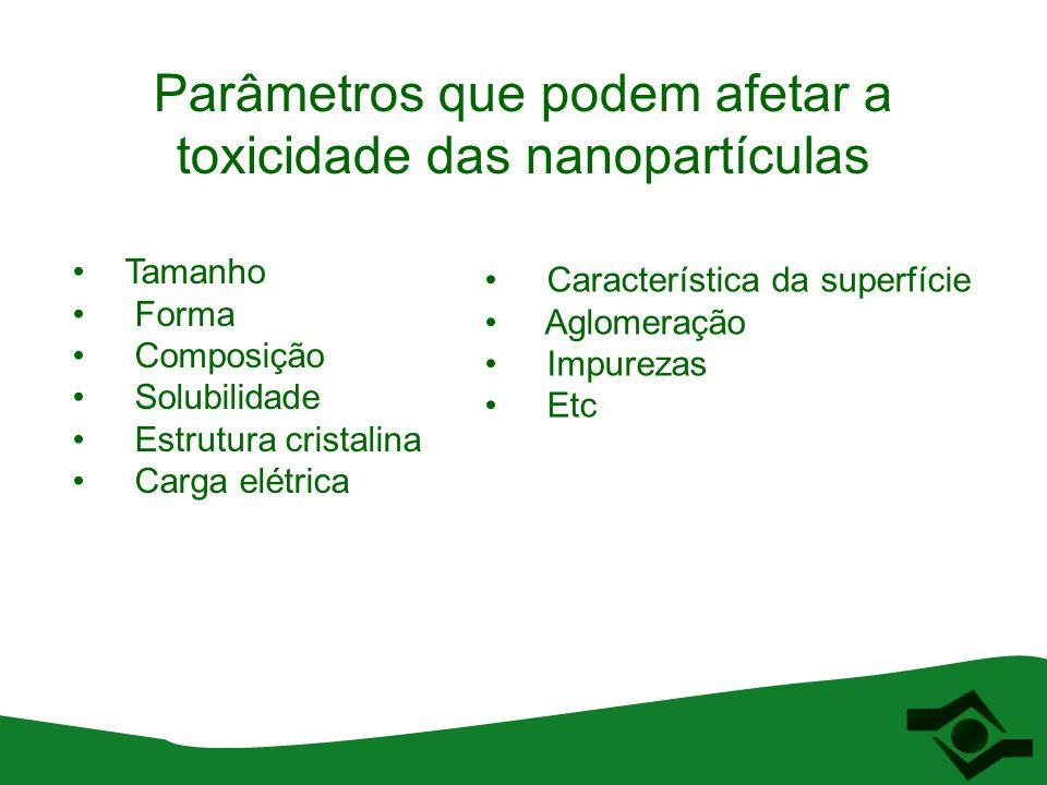 Parâmetros que podem afetar a toxicidade das nanopartículas