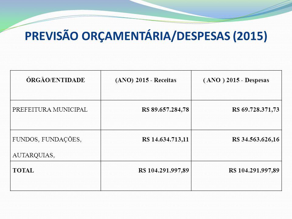PREVISÃO ORÇAMENTÁRIA/DESPESAS (2015)