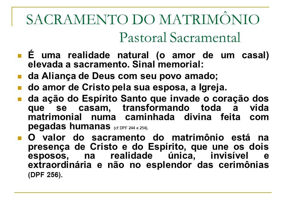 SACRAMENTO DO MATRIMÔNIO Pastoral Sacramental