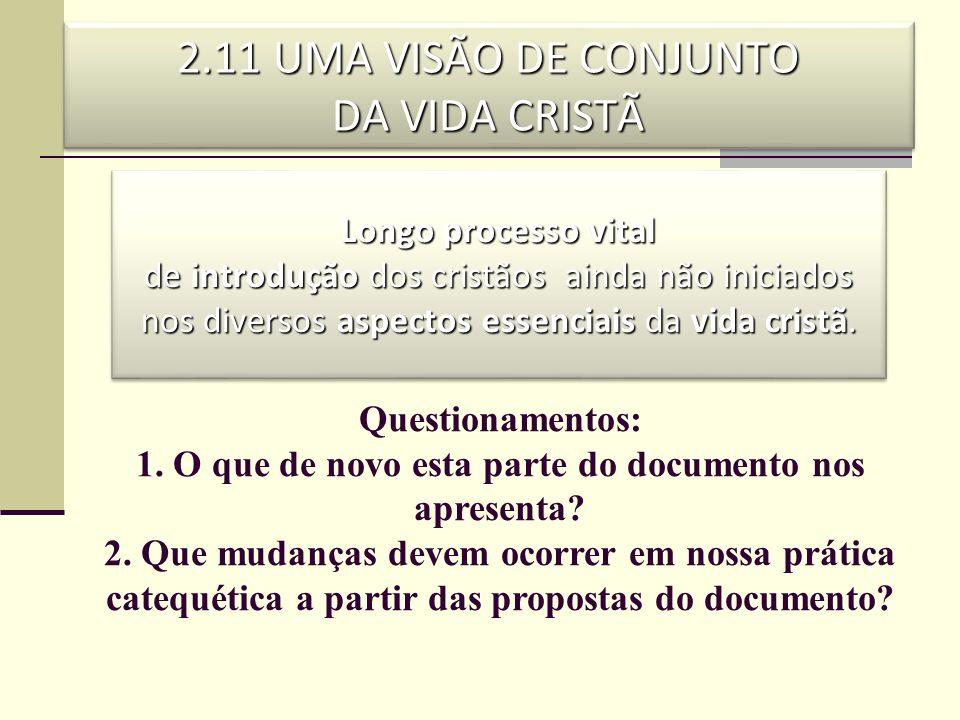 2.11 UMA VISÃO DE CONJUNTO DA VIDA CRISTÃ