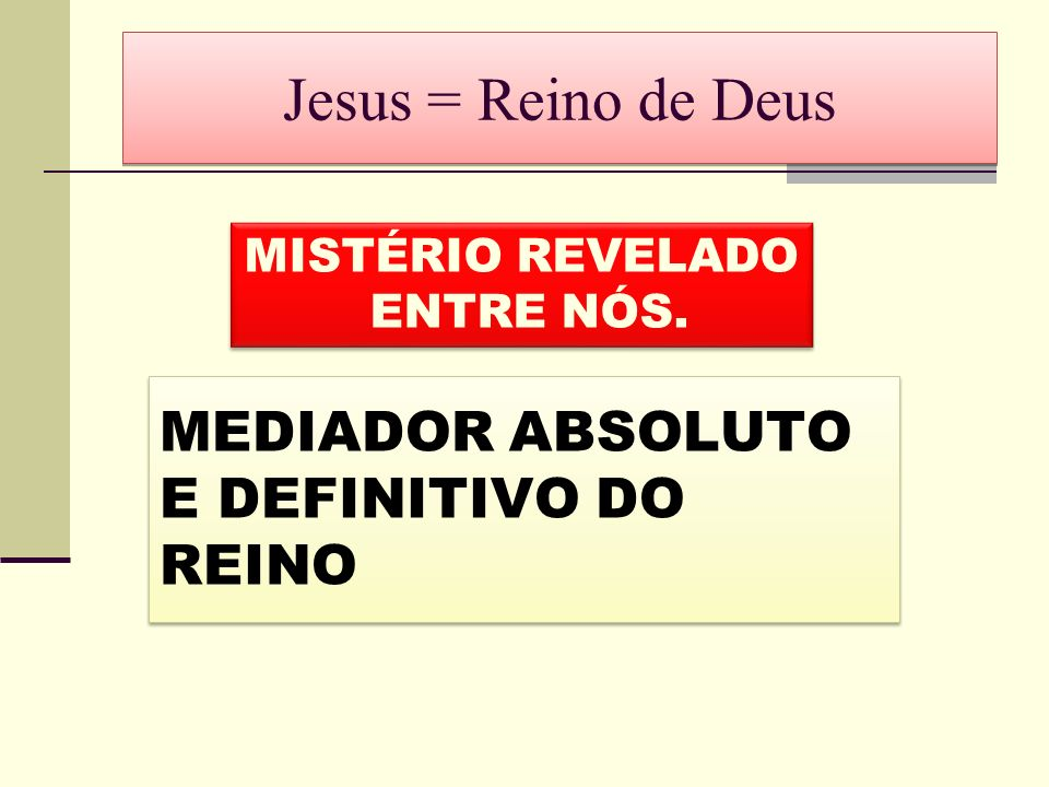 Jesus = Reino de Deus MEDIADOR ABSOLUTO E DEFINITIVO DO REINO