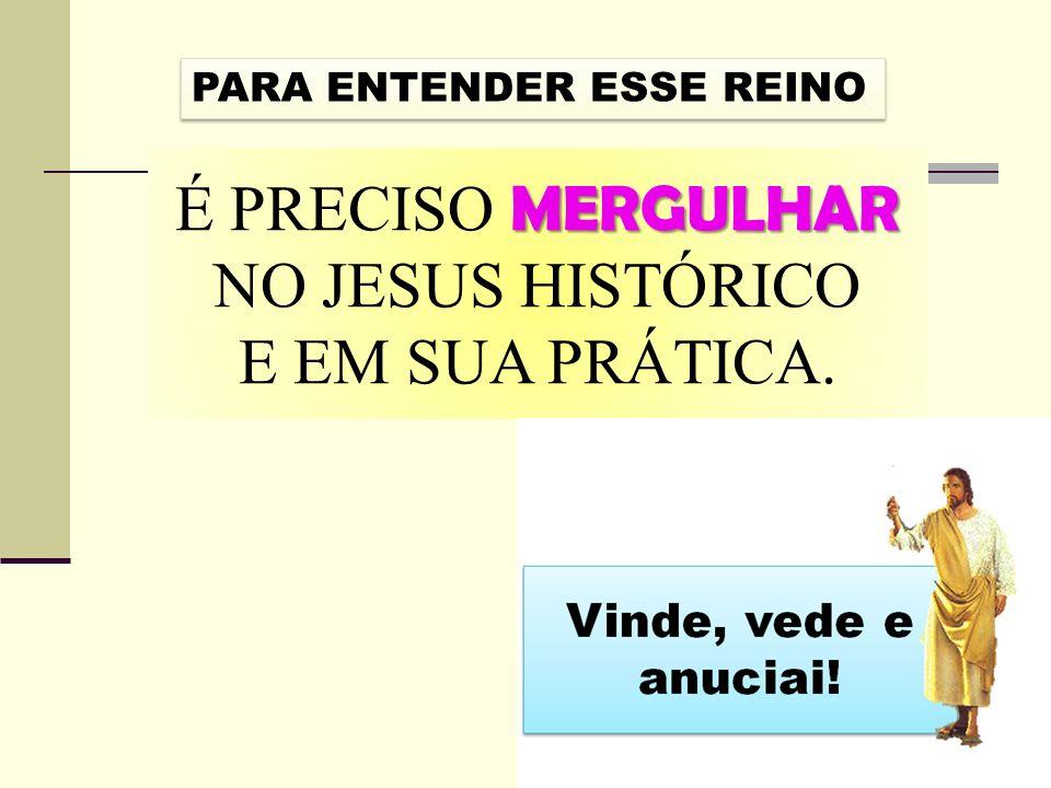 É PRECISO MERGULHAR NO JESUS HISTÓRICO E EM SUA PRÁTICA.