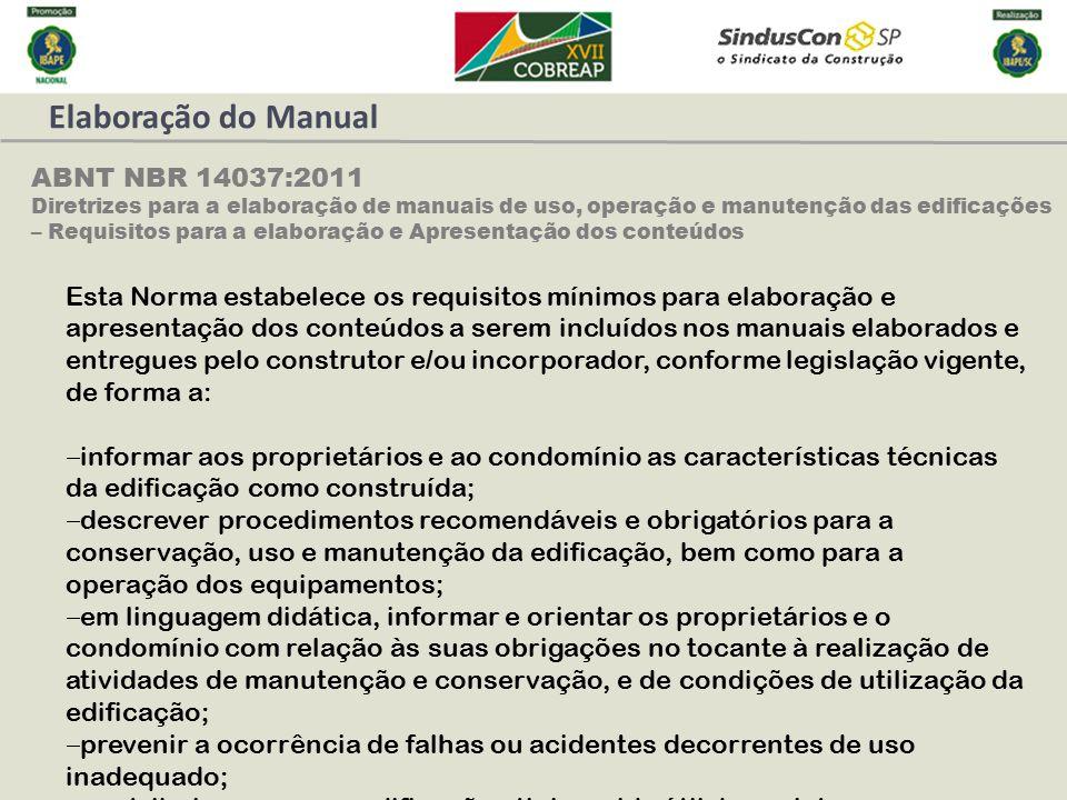 Elaboração do Manual ABNT NBR 14037:2011