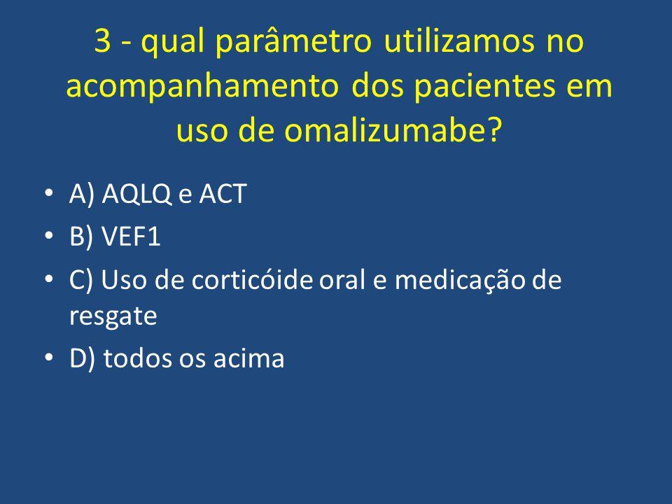 3 - qual parâmetro utilizamos no acompanhamento dos pacientes em uso de omalizumabe
