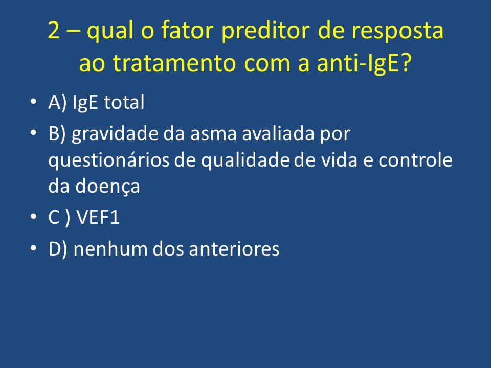 2 – qual o fator preditor de resposta ao tratamento com a anti-IgE