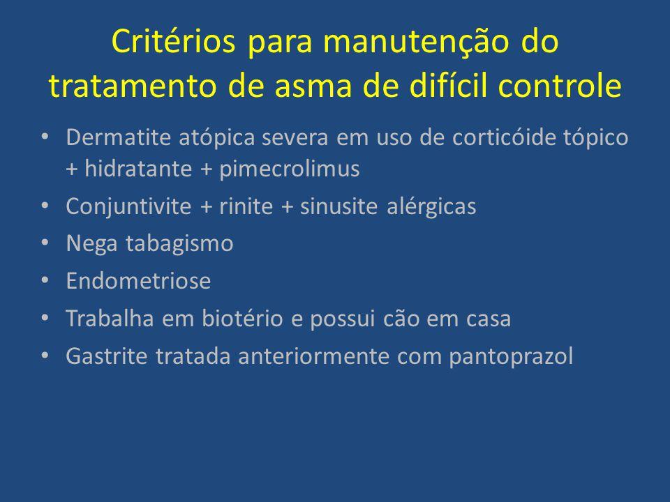 Critérios para manutenção do tratamento de asma de difícil controle