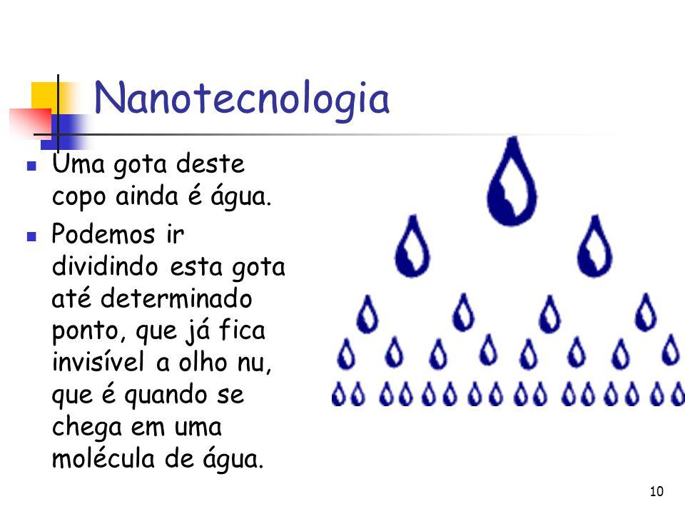 Nanotecnologia Uma gota deste copo ainda é água.