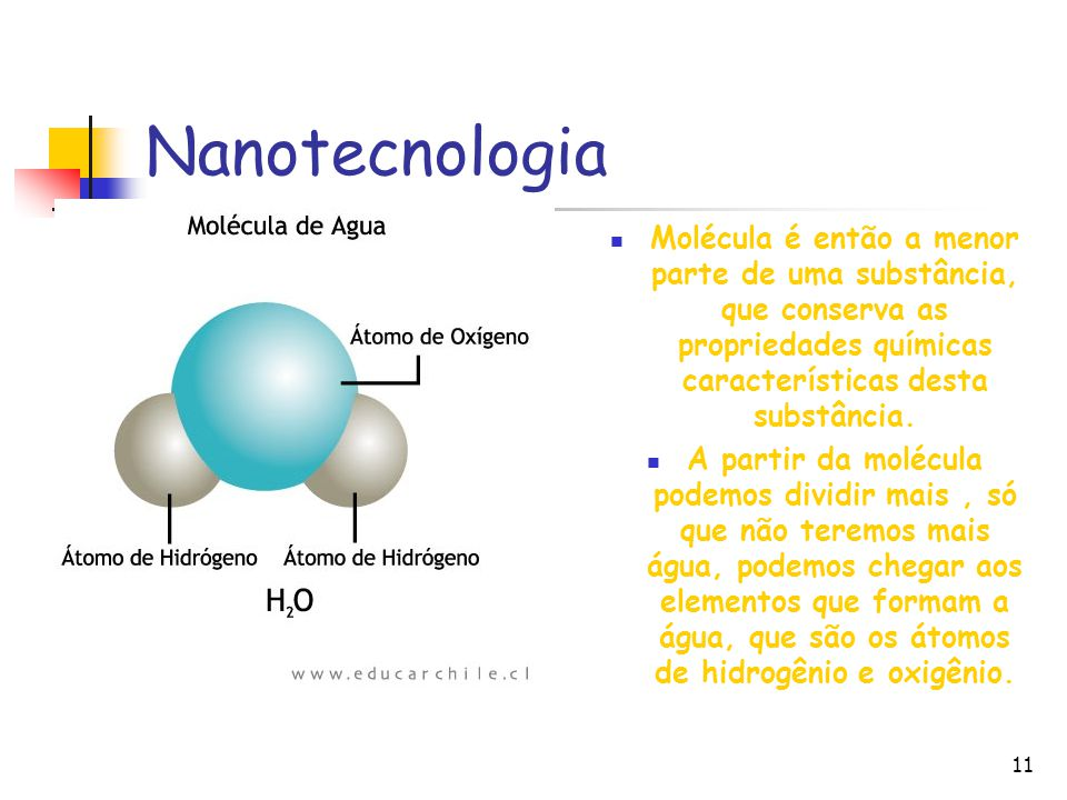 Nanotecnologia Molécula é então a menor parte de uma substância, que conserva as propriedades químicas características desta substância.