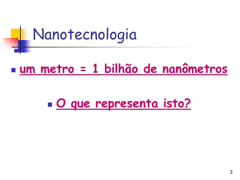 um metro = 1 bilhão de nanômetros