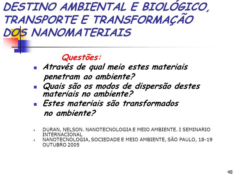 DESTINO AMBIENTAL E BIOLÓGICO, TRANSPORTE E TRANSFORMAÇÃO DOS NANOMATERIAIS