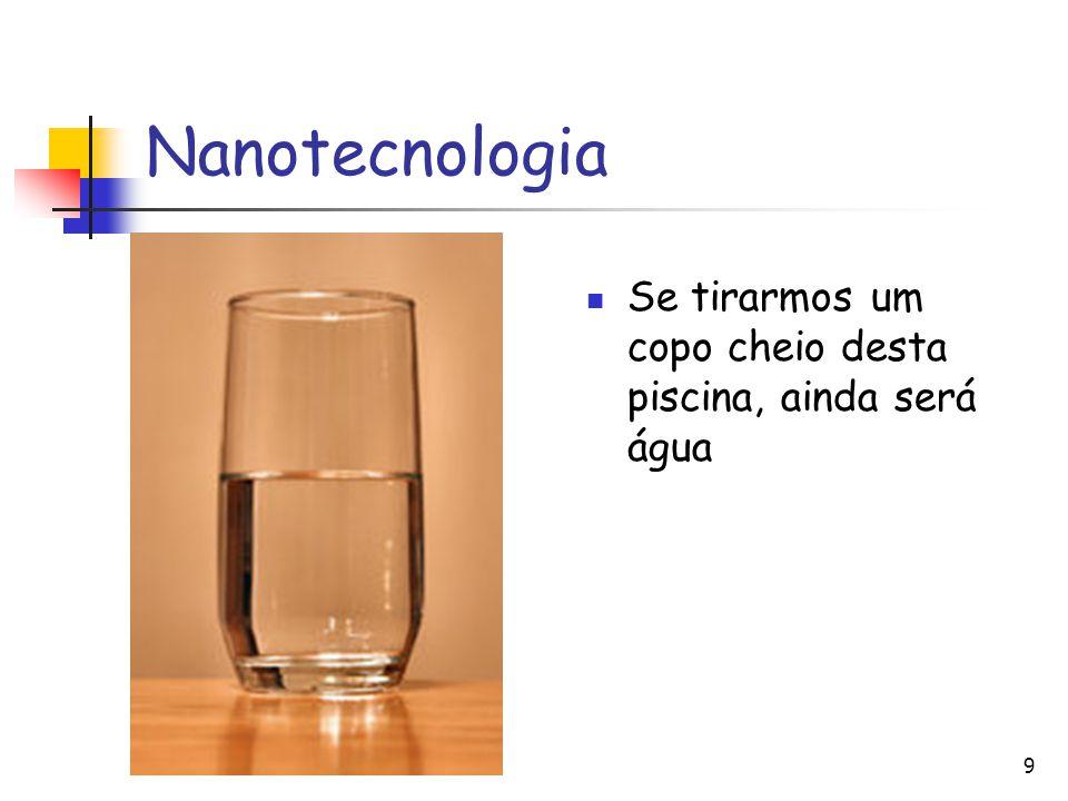 Nanotecnologia Se tirarmos um copo cheio desta piscina, ainda será água