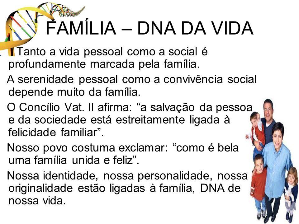 FAMÍLIA – DNA DA VIDA Tanto a vida pessoal como a social é profundamente marcada pela família.