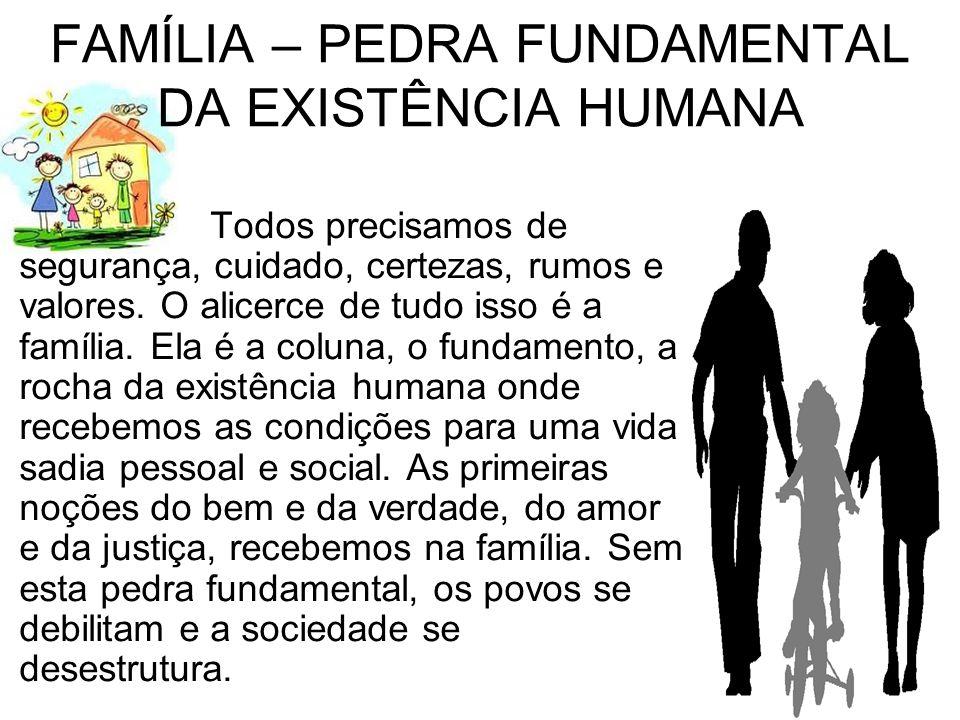 FAMÍLIA – PEDRA FUNDAMENTAL DA EXISTÊNCIA HUMANA