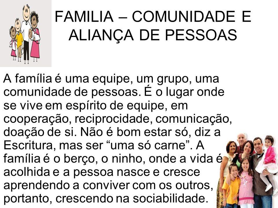 FAMILIA – COMUNIDADE E ALIANÇA DE PESSOAS