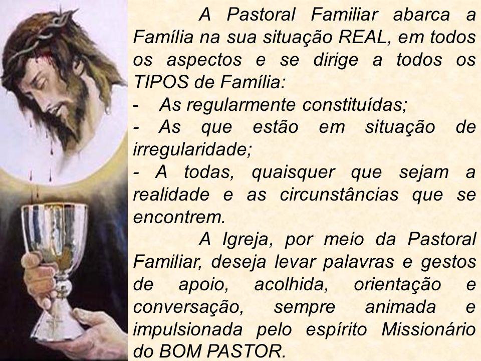 A Pastoral Familiar abarca a Família na sua situação REAL, em todos os aspectos e se dirige a todos os TIPOS de Família: