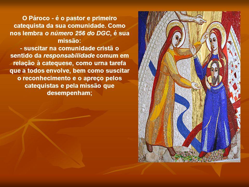O Pároco - é o pastor e primeiro catequista da sua comunidade