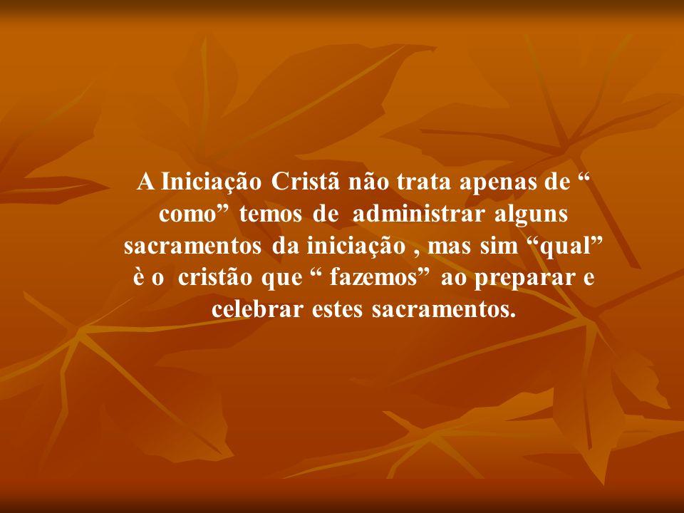 A Iniciação Cristã não trata apenas de como temos de administrar alguns sacramentos da iniciação , mas sim qual è o cristão que fazemos ao preparar e celebrar estes sacramentos.