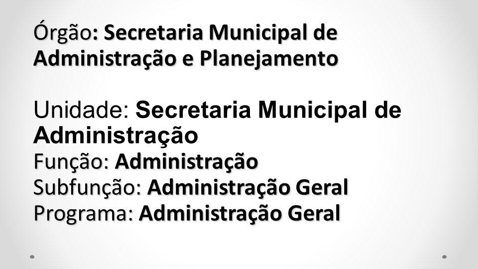 Órgão: Secretaria Municipal de Administração e Planejamento