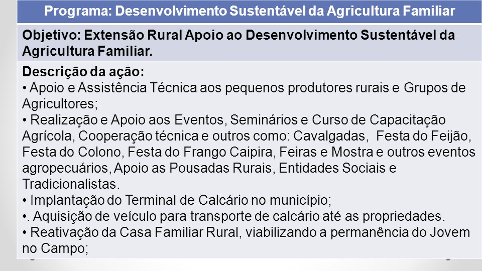 Programa: Desenvolvimento Sustentável da Agricultura Familiar