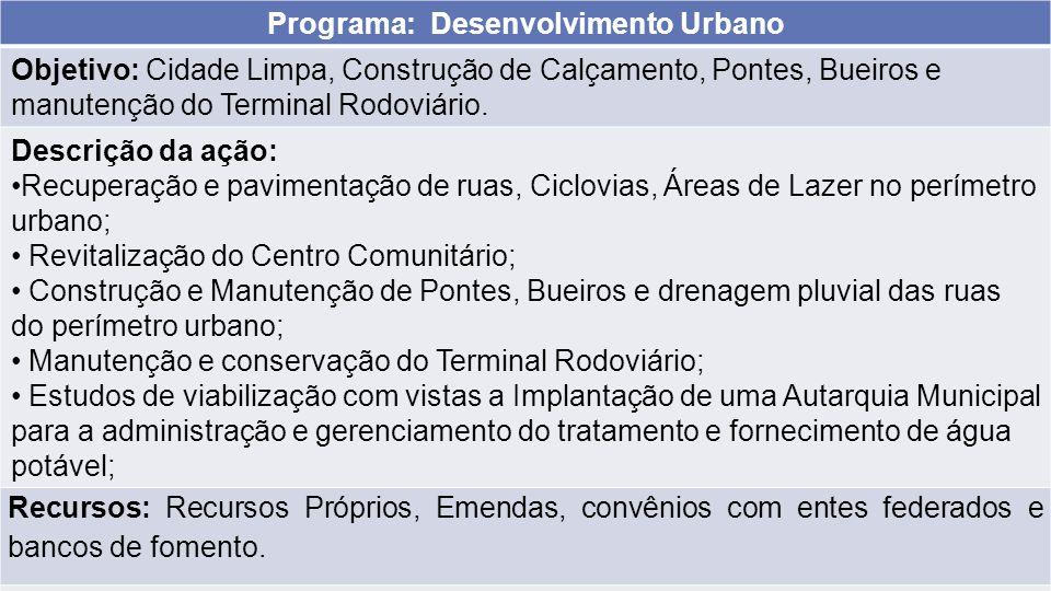 Programa: Desenvolvimento Urbano