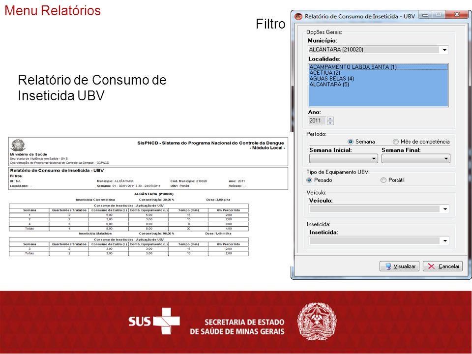 Menu Relatórios Filtro Relatório de Consumo de Inseticida UBV