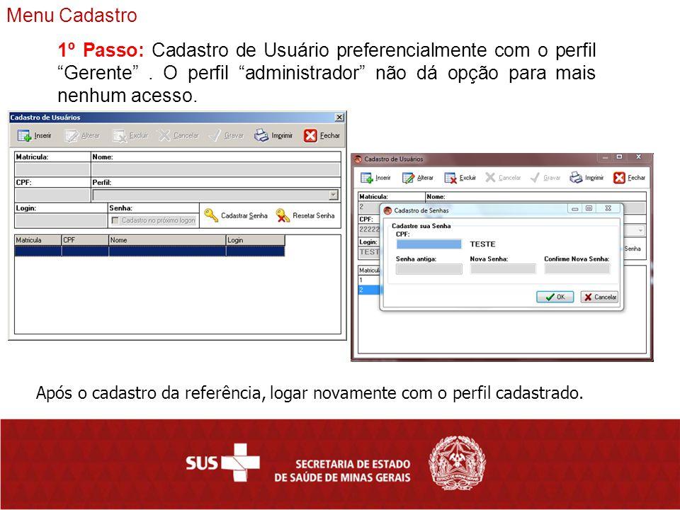 Menu Cadastro 1º Passo: Cadastro de Usuário preferencialmente com o perfil Gerente . O perfil administrador não dá opção para mais nenhum acesso.