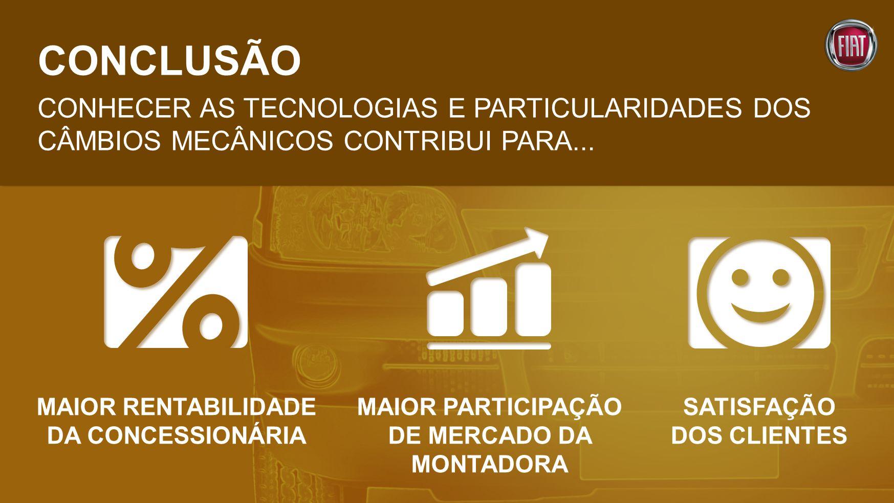 CONCLUSÃO CONHECER AS TECNOLOGIAS E PARTICULARIDADES DOS CÂMBIOS MECÂNICOS CONTRIBUI PARA...