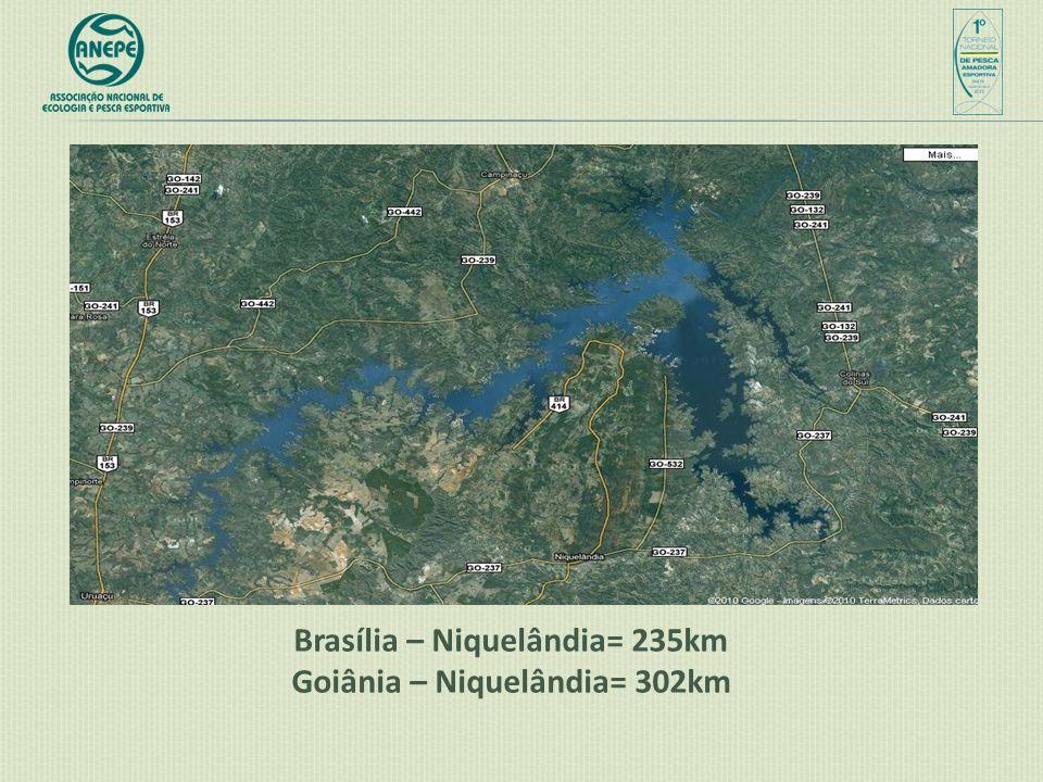 Brasília – Niquelândia= 235km Goiânia – Niquelândia= 302km