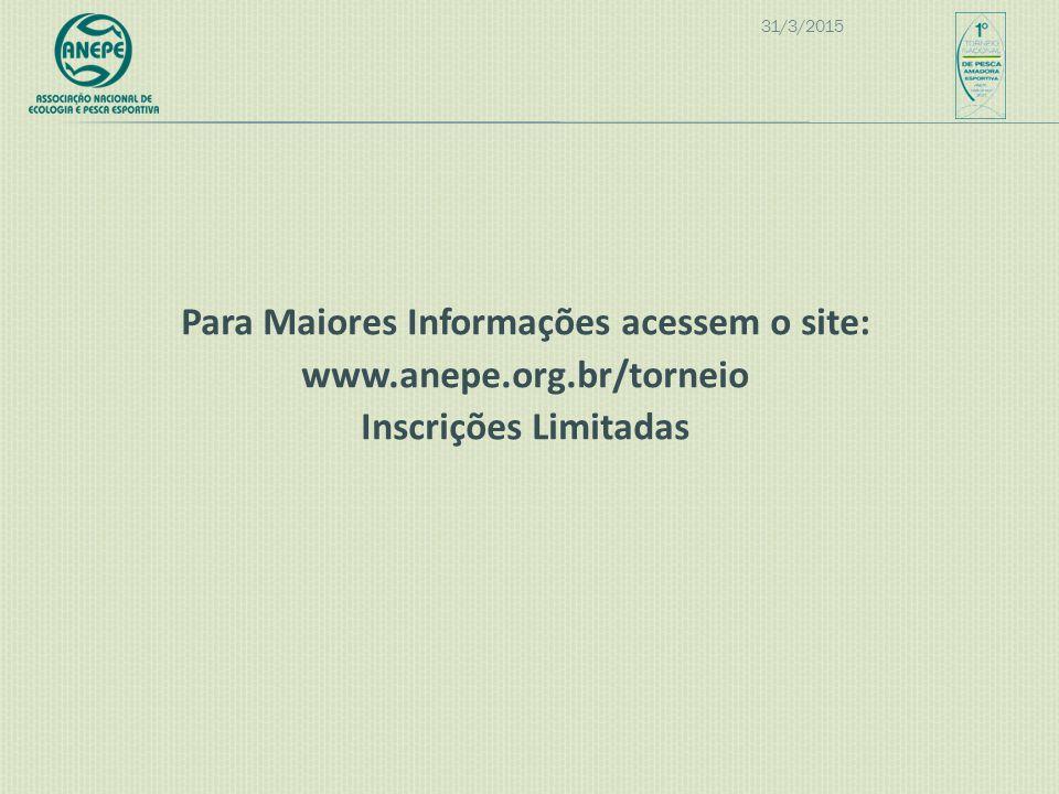 09/04/2017 Para Maiores Informações acessem o site: www.anepe.org.br/torneio Inscrições Limitadas