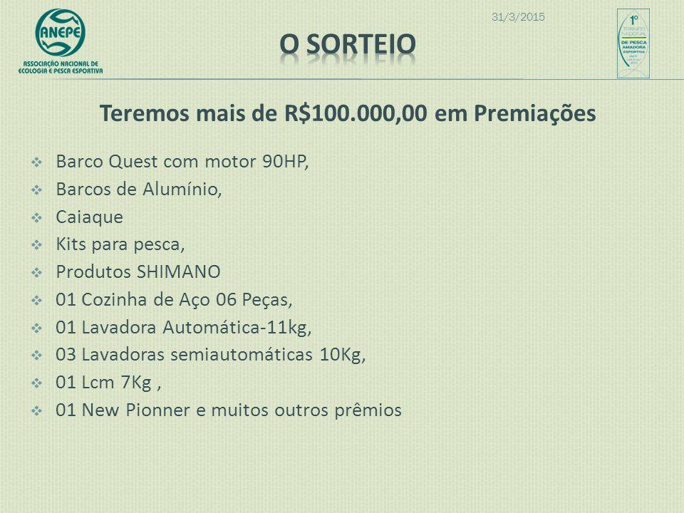 Teremos mais de R$100.000,00 em Premiações