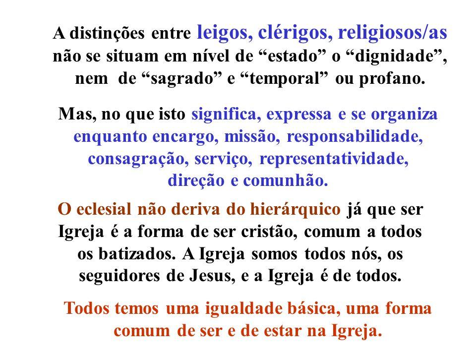 A distinções entre leigos, clérigos, religiosos/as não se situam em nível de estado o dignidade , nem de sagrado e temporal ou profano.